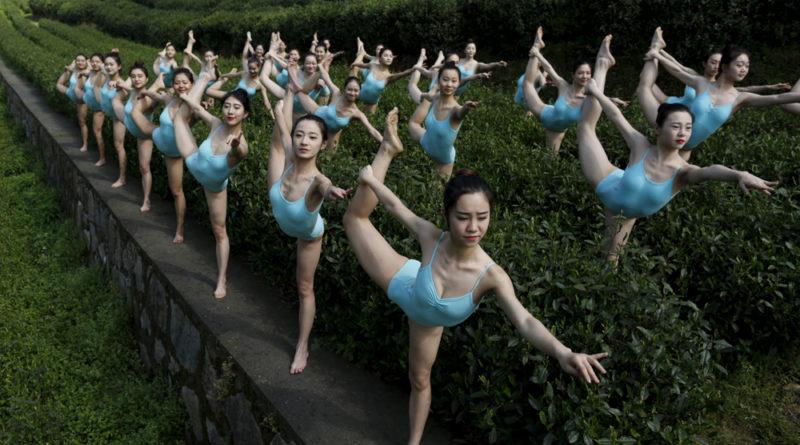 Praticare Yoga in una piantagione di The